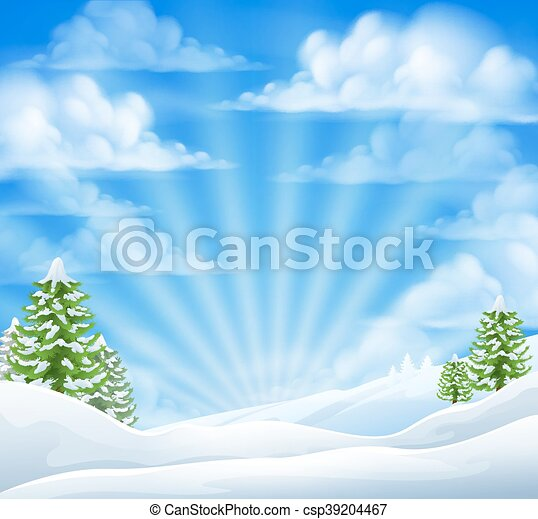 Christmas Snow Winter Background - csp39204467