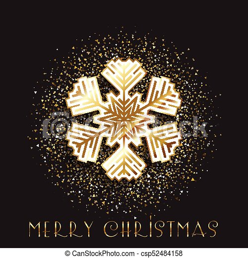 Christmas snowflake on a gold glitter background - csp52484158