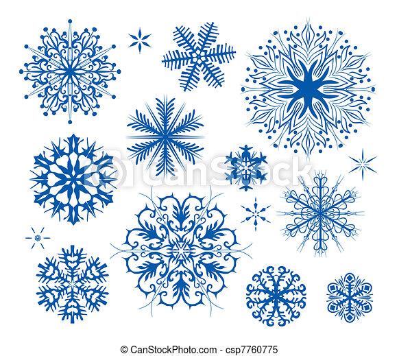 christmas snowflakes icon collectio - csp7760775
