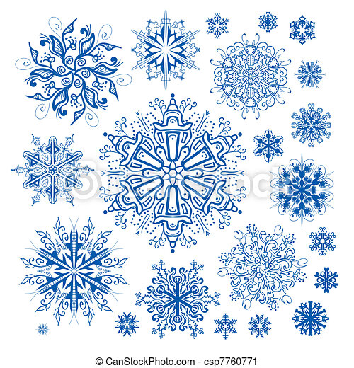 christmas snowflakes icon collectio - csp7760771