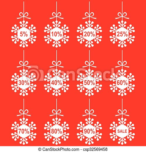 Christmas snowflakes set for sale on red background - csp32569458