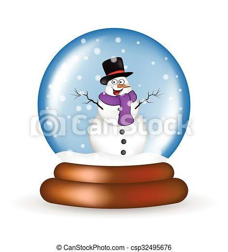 christmas snowglobe with snowman cartoon design icon vectors rh canstockphoto com