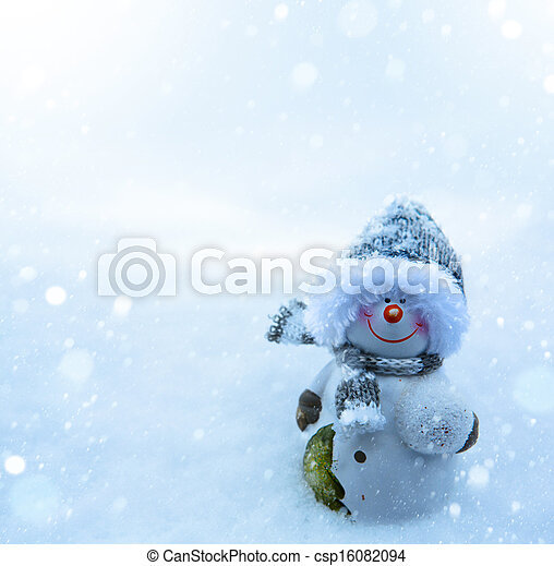 Christmas snowman and blue snow background - csp16082094