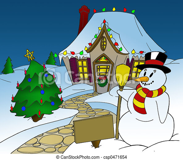 Christmas Snowman And Tree In Front Of House With
