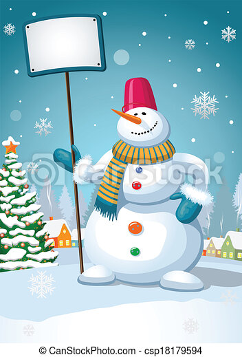 Christmas snowman - csp18179594