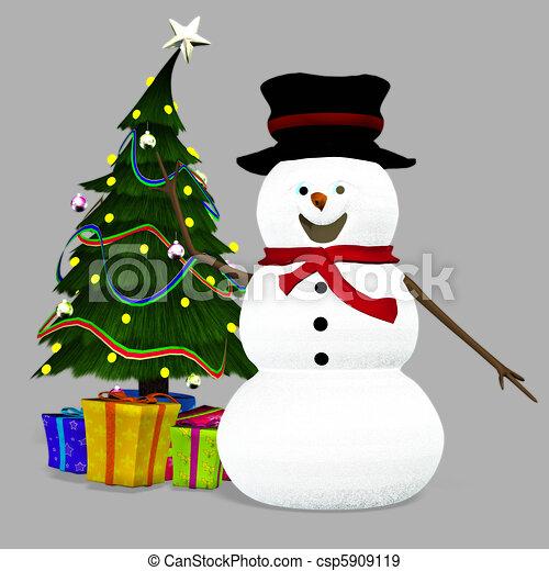 Christmas Snowman - csp5909119