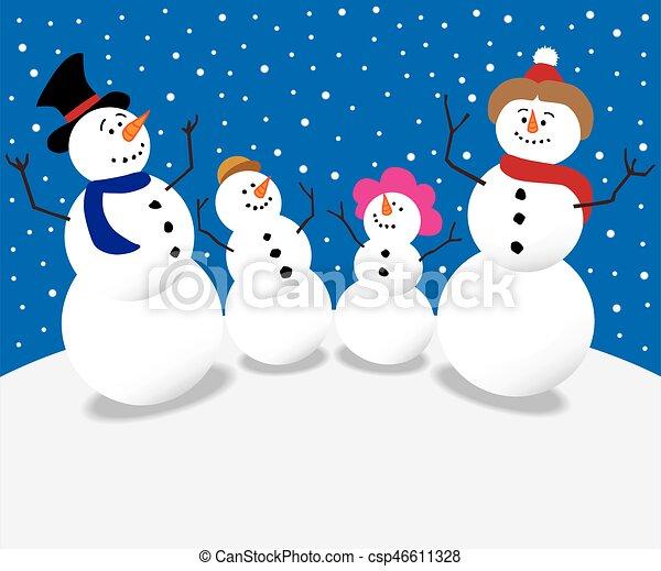 Christmas Snowman Family - csp46611328