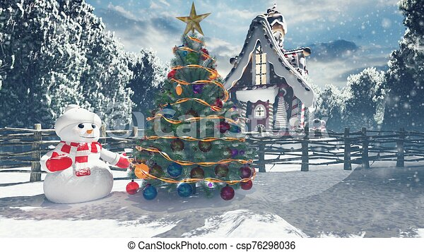 Christmas snowman in a snowy enchanted forest and a gingerbread man in the fairy house. Christmas and New year 3D rendering. - csp76298036