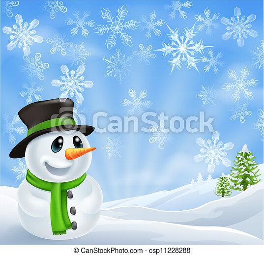 Christmas Snowman Scene - csp11228288