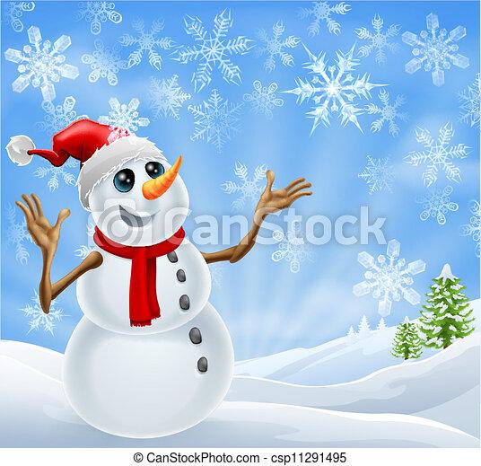 Christmas Snowman winter landscape - csp11291495
