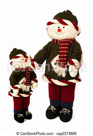Christmas Snowmen Isolated - csp2374868