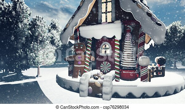 Christmas snowy enchanted forest and a gingerbread man in the fairy house. Christmas and New year 3D rendering. - csp76298034