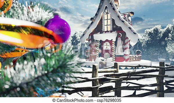 Christmas snowy enchanted forest and a gingerbread man in the fairy house. Christmas and New year 3D rendering. - csp76298035