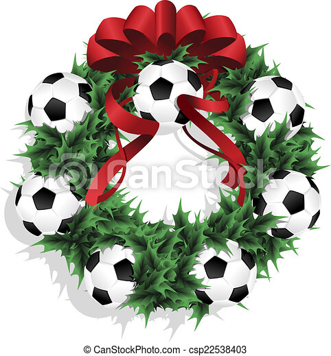 Christmas Soccer Or Football Wreath With Red Ribbon
