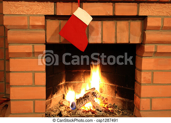 Christmas Sock On Fireplace Close Up Of Brick Fireplace With
