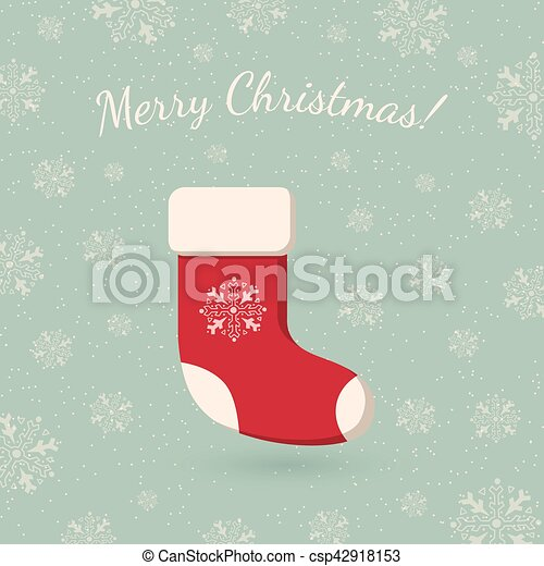 Christmas sock on winter backdrop