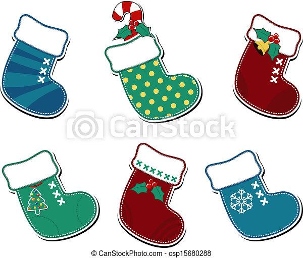 christmas socks cartoon set of six cute christmas socks isolated on