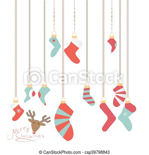 Christmas Socks Hanging On A Magic Thread New Year S Logo Is A Deer