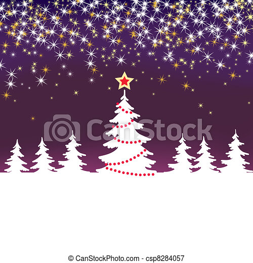 Christmas sparkle  background with tree - csp8284057