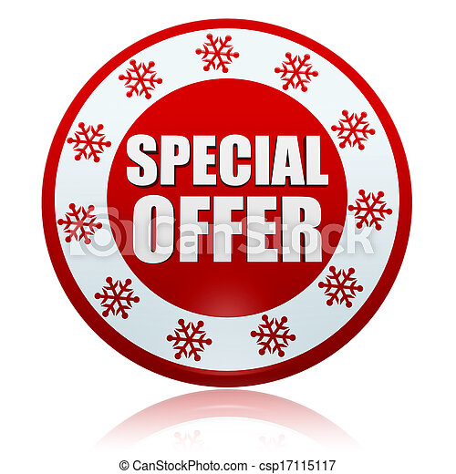 Christmas Special Offer 3d Red Circle Banner With White Text And