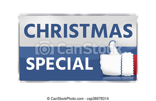 christmas special thumbs up button icon - csp38978314