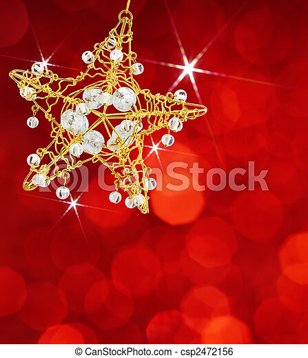 christmas star with red lights - csp2472156