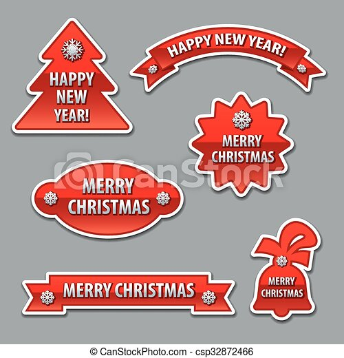 christmas stickers - csp32872466