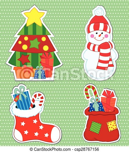 Christmas stickers - csp28767156