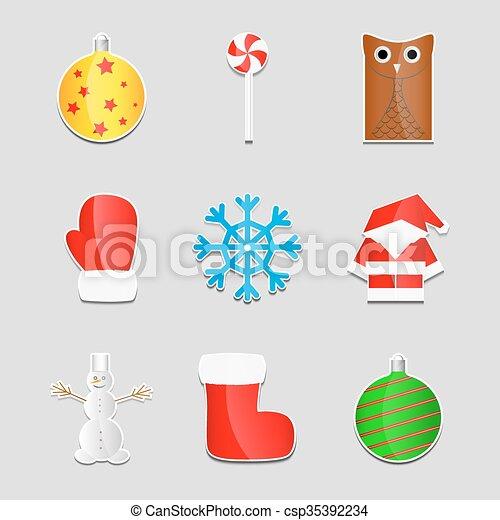 Christmas stickers - csp35392234