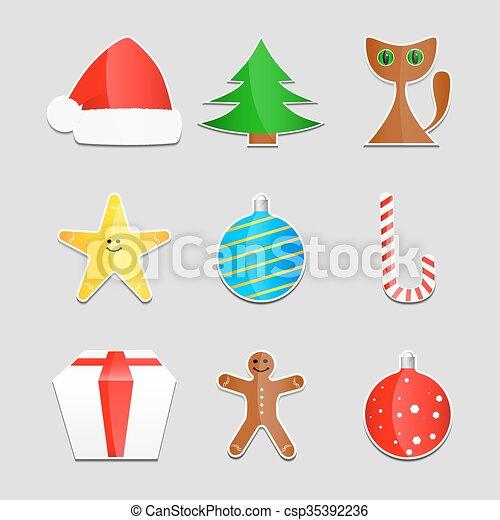 Christmas stickers - csp35392236
