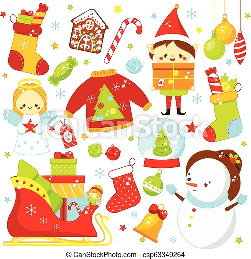 Christmas Stickers.Christmas Stickers Icons Cute Santa Elf Sleigh Snowman And Other New Year Holiday Symbols In Kawaii Style Big Collection Of Isolated Vector