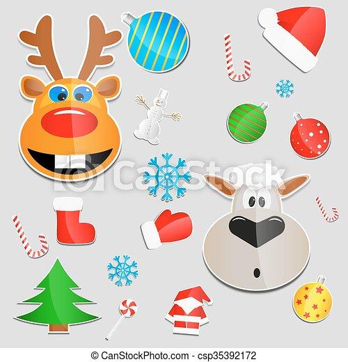 Christmas stickers - csp35392172