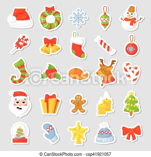 christmas stickers set collection vector cartoon new year traditional symbols icons objects