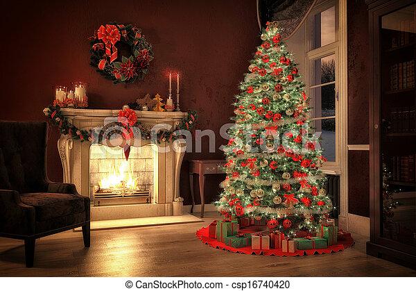 Weihnachtsbilder Kamin.Christmas