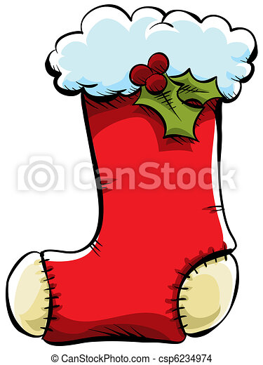 Christmas Stocking A Red Cartoon Christmas Stocking Canstock