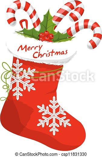 Drawings Of Christmas Stockings.Christmas Stocking Illustration