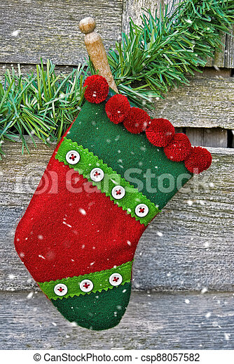 Christmas stocking in snowflakes - csp88057582