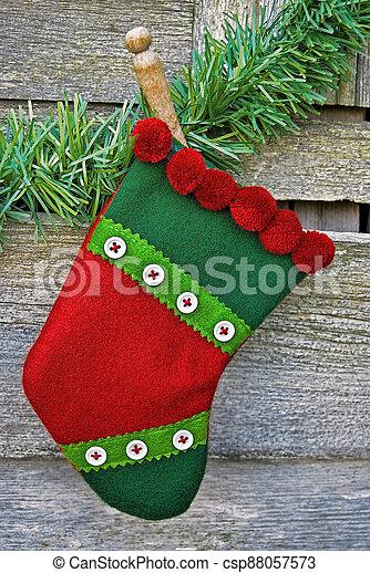 Christmas stocking with retro clothespin - csp88057573