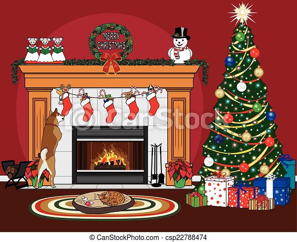 Christmas Fireplace Scene Clipart.Christmas Stockings And Pets