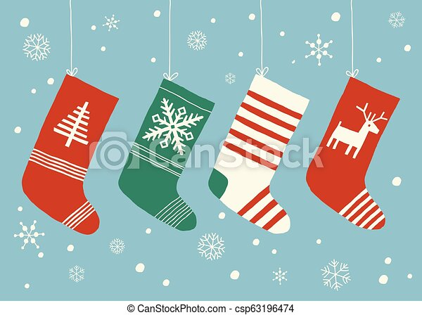 Christmas Stockings Background Christmas Socks Hanging Cartoon Vector Hand Drawn Eps 10 Illustration Isolated On White Background In A Flat Style