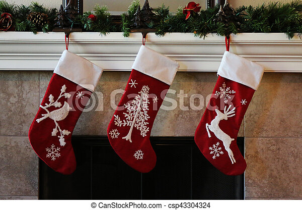 Red Christmas Stocking.Christmas Stockings On The Fireplace Mantle