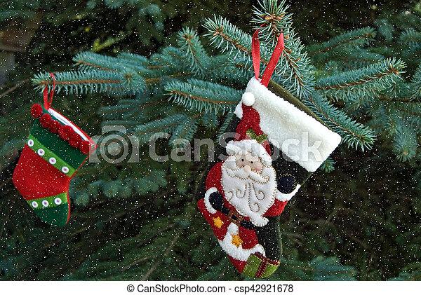 Christmas stockings with snowflakes - csp42921678