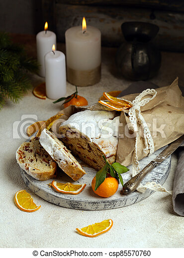 Christmas stollen for treats and decorations - csp85570760