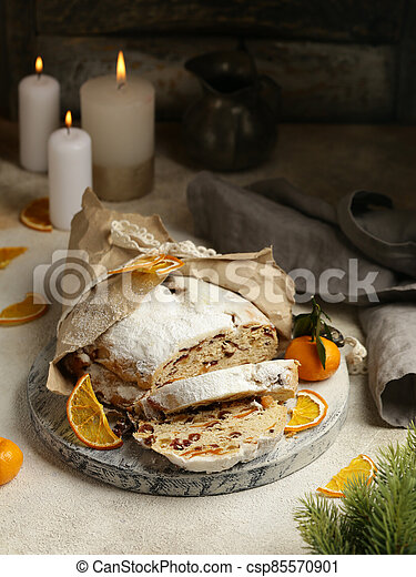 Christmas stollen for treats and decorations - csp85570901