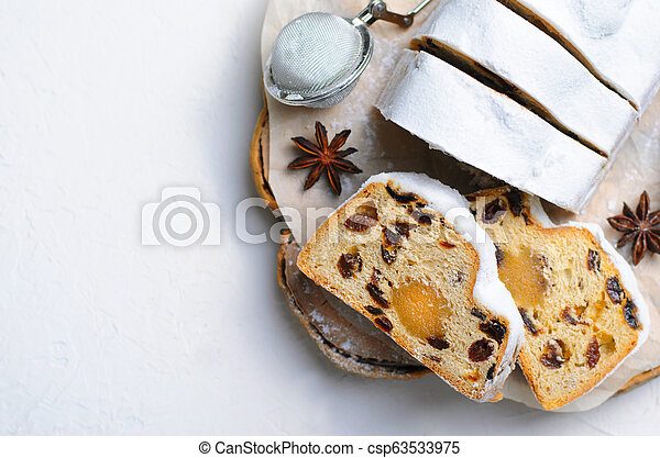 Christmas Stollen, Traditional Fruit Loaf Cake, Festive Dessert for Winter Holidays - csp63533975