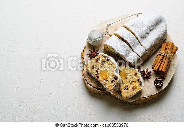 Christmas Stollen, Traditional Fruit Loaf Cake, Festive Dessert for Winter Holidays - csp63533976