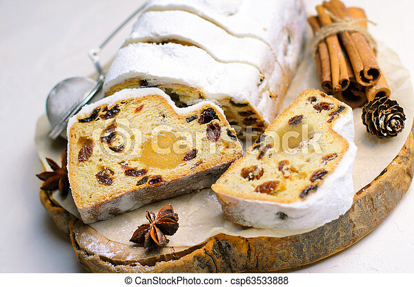 Christmas Stollen, Traditional Fruit Loaf Cake, Festive Dessert for Winter Holidays - csp63533888