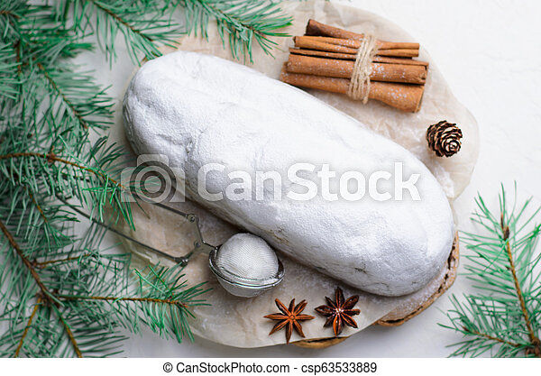 Christmas Stollen, Traditional Fruit Loaf Cake, Festive Dessert for Winter Holidays - csp63533889