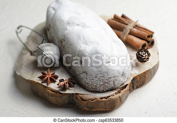 Christmas Stollen, Traditional Fruit Loaf Cake, Festive Dessert for Winter Holidays - csp63533850