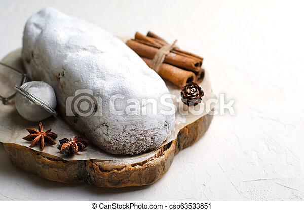 Christmas Stollen, Traditional Fruit Loaf Cake, Festive Dessert for Winter Holidays - csp63533851